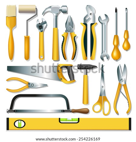 Set of different tools over white background. Vector illustration - stock vector