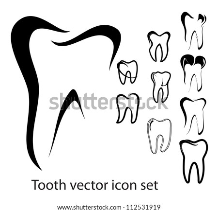 Set of 10 different tooth vector illustrations isolated - stock vector