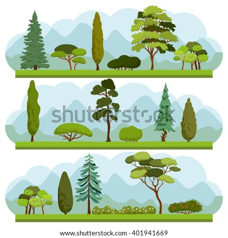 Set of different Trees and Bushes. Collection of various types and forms of trees and bushes. Ecology vector background concept. - stock vector
