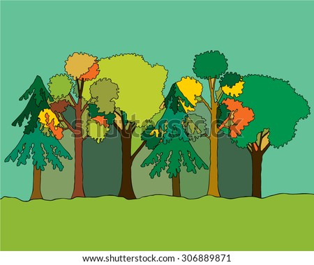 Set of different trees, grass. Sprites for the game. vector flat forests illustrations. Drawn in pencil, pen. With the effect of imposing the color tree to tree. Autumn in forest.
