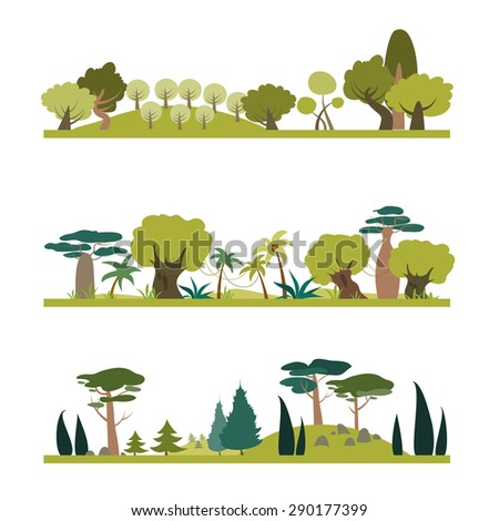 Set of different trees species . Coniferous, tropic, deciduous. Vector isolated illustration in flat style