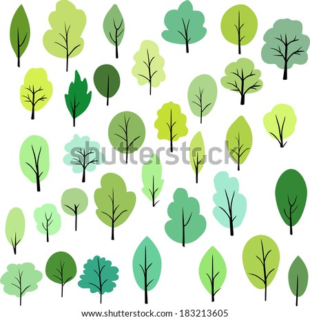set of different trees, vector illustration - stock vector