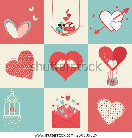 Set of different type of Valentines Elements with love bird and hearts for Happy Valentines Day celebration. - stock vector