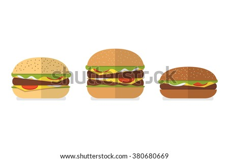 Set of different types of bread for burgers, hamburgers, cheeseburgers. White bread, wheat bread, wholegrain bread, rye bread. Vector burger icons. Menu design elements.