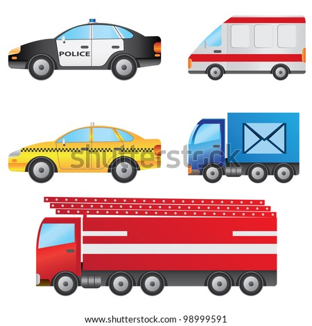 Set of different types of cars including police car, ambulance, taxi, post van and fire truck. - stock vector