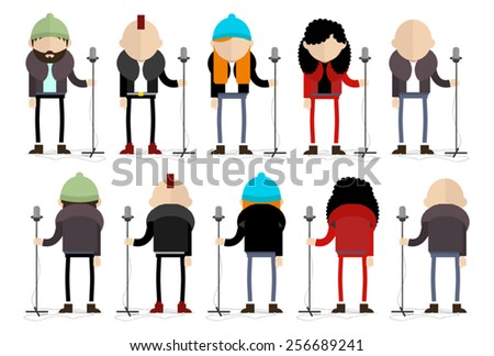Set of different types of singers - stock vector