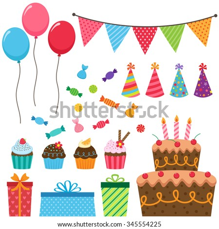 Set of different vector birthday party elements - stock vector