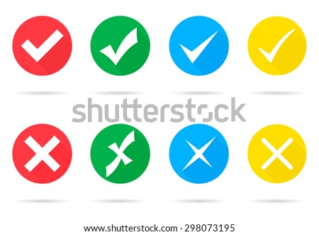 Set of different vector check marks and crosses