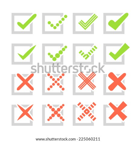 Set of different vector check marks or ticks and crosses. Confirmation, right and wrong choices, task completion, voting, etc. isolated on white background. Grey, red and green colors. - stock vector