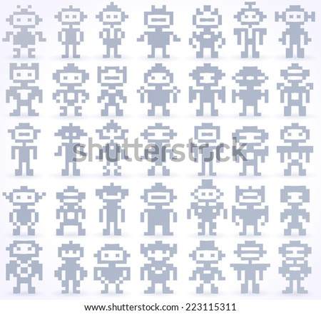 Set Of Different Vector Pixel Robots - stock vector