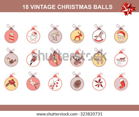 Set of different vintage Christmas decorations isolated on white. Pastel colors. For Christmas design, announcements, postcards, posters. - stock vector