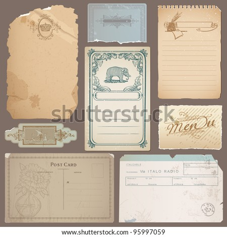 Set of Different Vintage Papers, Cards and Old Notes in vector - stock vector
