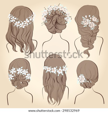 Set Of Different Vintage Style Hairstyles Wedding