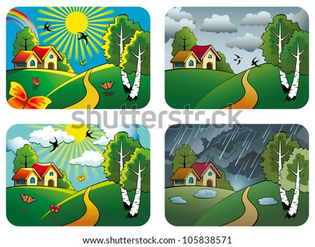Set of different weather landscapes: sunny, cloudy, overcast and rainy, vector illustration - stock vector