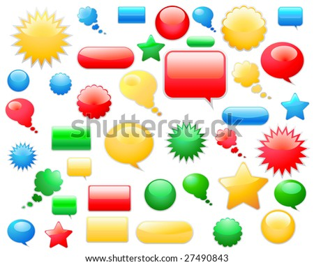 Set of different web glossy vector elements