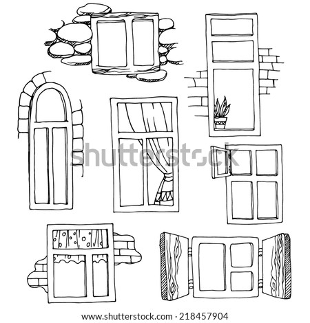 Set different windows handdrawn design elements stock for Window design sketch