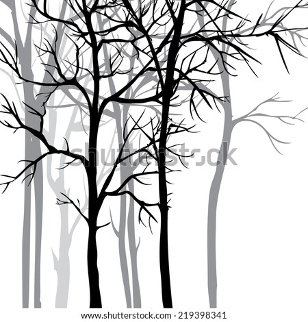 set of different winter trees and roots, vector illustration - stock vector