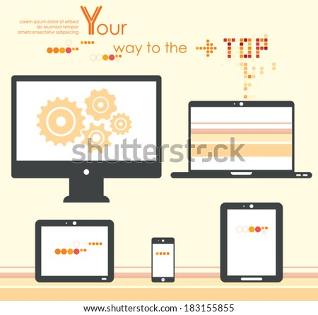 Set of digital devices. Computer monitor, netbook, notebook,  laptop, tablets, smartphone. Vector icons. - stock vector
