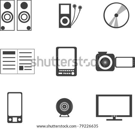 set of digital media electronics equipment. vector - stock vector