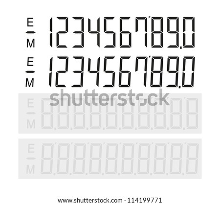 Set of digital number - stock vector