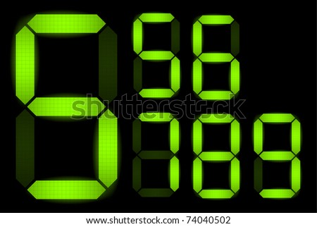 Set of digital numbers - check my portfolio for other numbers from the set - stock vector