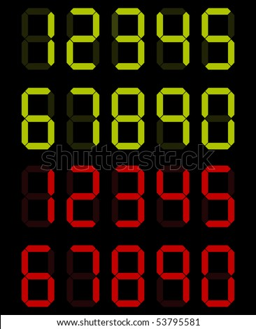 set of digital numbers in green and red colors - stock vector