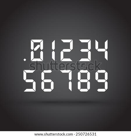 Set of digital numbers on dark background - stock vector