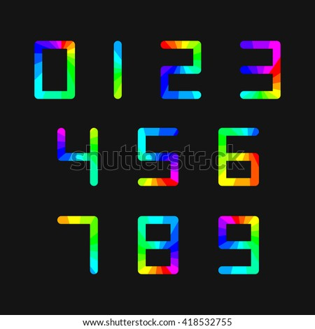 Set of digital numbers rainbow on a black background, vector illustration. - stock vector