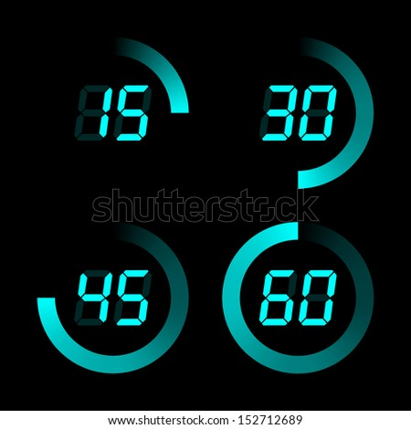 Set of digital stopwatches. aqua color electronic timers