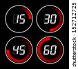 Set of digital stopwatches. electronic timers - stock