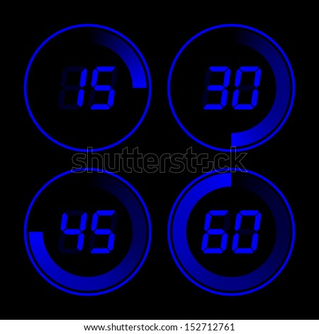 Set of digital stopwatches. electronic timers