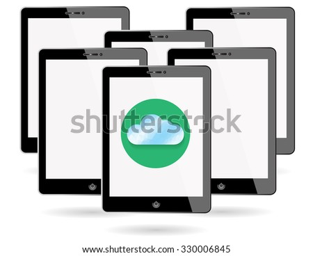 Set of digital tablets with cloud polygon on screen isolated on white background. - stock vector