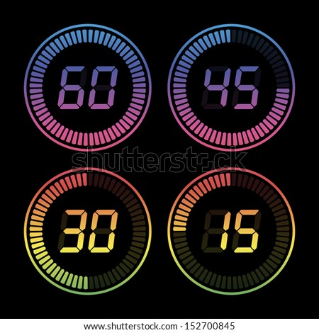 Set of digital timers - stock vector
