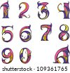 Set of digits in modern style. Color vector illustrations. - stock photo