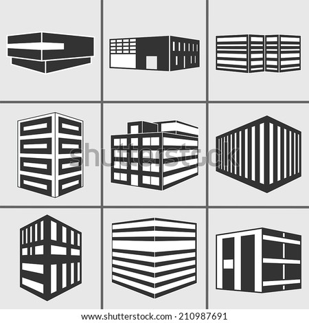 Set of dimensional buildings icons silhouette in grey and black with depicting high-rise commercial office blocks and residential apartments. Vector web sticker 3d symbol isolated on white background. - stock vector