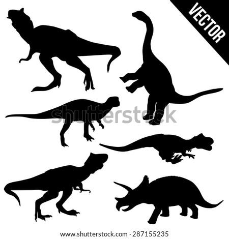 Set of dinosaur silhouettes on white background, vector illustration - stock vector