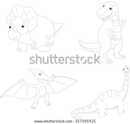 Set of diplodocus, tyrannosaur, pterodactyl and triceratops. Dot to dot educational game for kids. Vector illustration