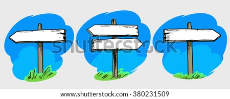 Set of direction signs. Double direction sign, right, left direction signs. Hand drawn vector illustration. Isolated. - stock vector