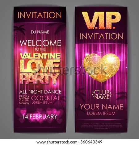 Set of disco background banners. Valentine love party  poster - stock vector