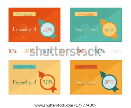 Set of discount cards. Flat design. - stock vector