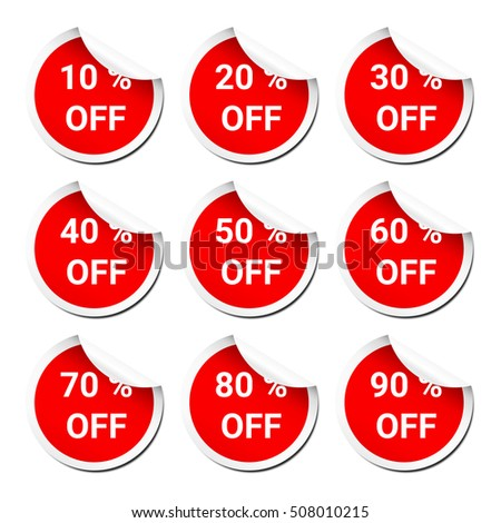 Set of discount red peel off sticker (present in percent)