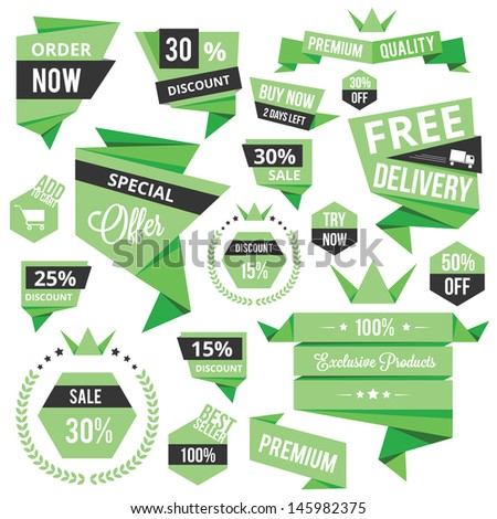 Set of Discount Sale Concept Labels and Stickers - stock vector
