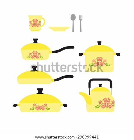 Set of dishes for cooking. Cookware: cup and saucer. Frying pan and saucepan. Knife and fork. Set yellow retro dishes with a flower. Vector illustration - stock vector