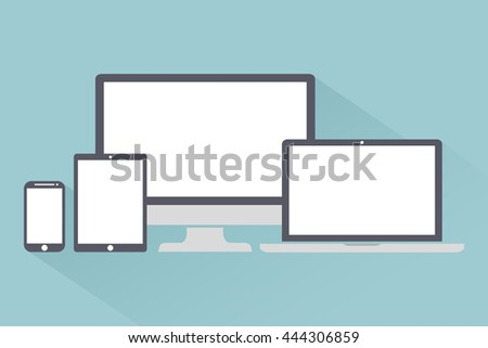 Set of display, laptop, tablet and mobile phones electronic device, gadgets isolated on a light background stylish vector illustration EPS10 - stock vector