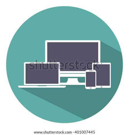 Set of display, laptop,  tablet and mobile phones electronic device icons flat style on a green background, vector illustration stylish for adaptive web design - stock vector