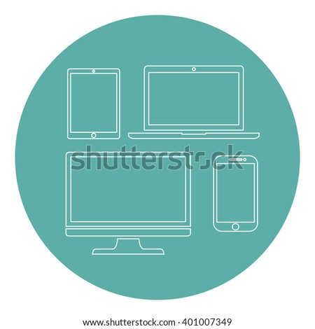Set of display, laptop,  tablet and mobile phones silhouettes electronic device icons flat style on a green background, vector illustration stylish