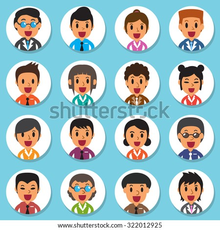 Set of diverse business people round avatars - stock vector