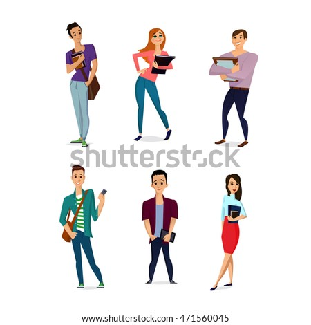 Set of diverse college or university students isolated on white background. Different dress styles. Cute and simple flat cartoon style.