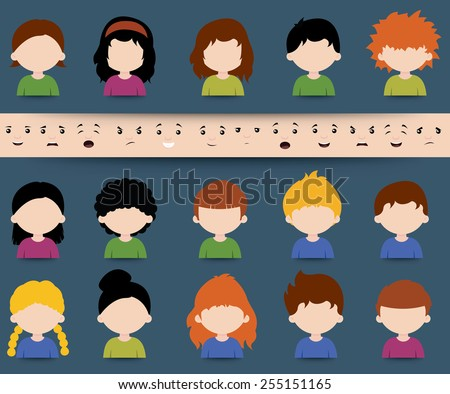 Set of diverse colored vector cartoon character icons with separate face elements depicting different expressions, moods and emotions to be applied in a mix and match design - stock vector