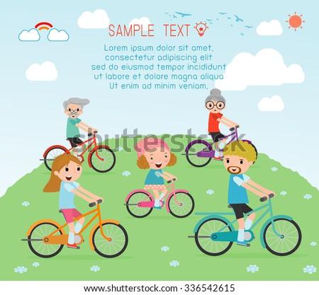 Set of diverse  family riding bikes, Happy family riding bikes , Family Biking Together, people character cartoon concept. Sports family. family riding bikes, vector illustration - stock vector